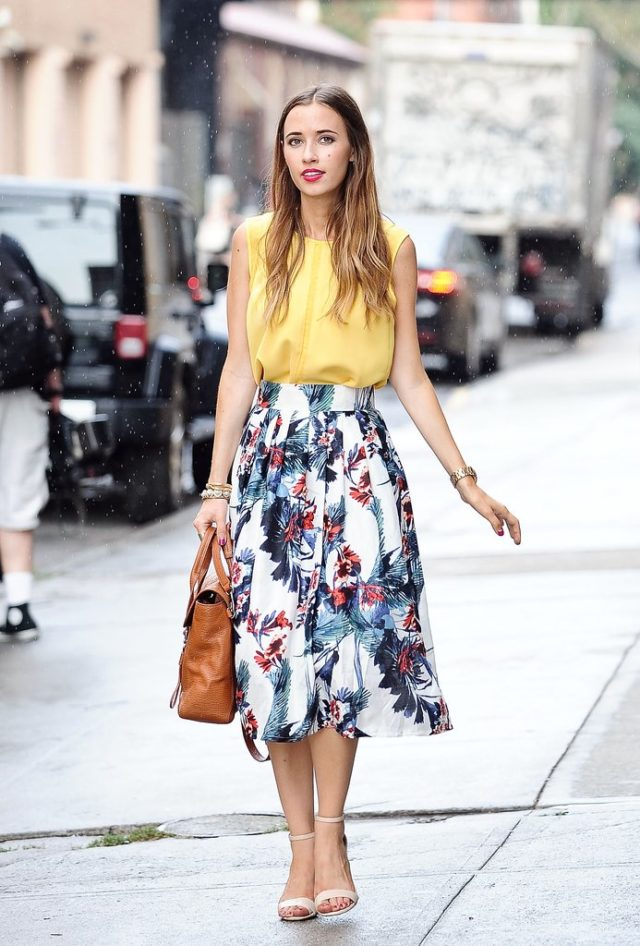 summer work outfit-floral midi skirt-ps