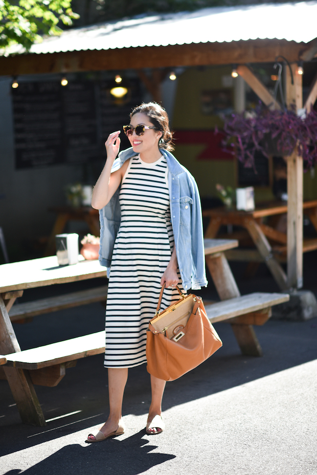 weekend-denim jacket-striped dress-summer dress-sundress-slides-