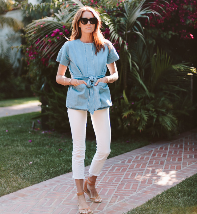 White Jeans Cropped Belted Denim Jacket Summer Work Outfit Weekend