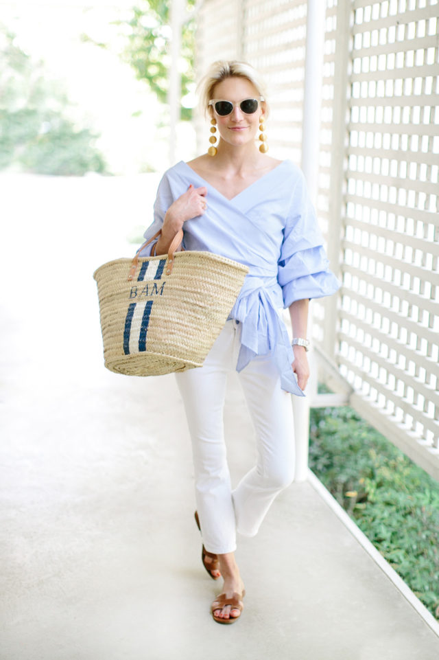 white jeans, ruffles, wrap top