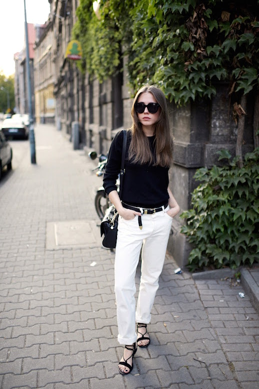 white jeans-rolled jeans-western belt-black and white-summer to fall transitional dressing-
