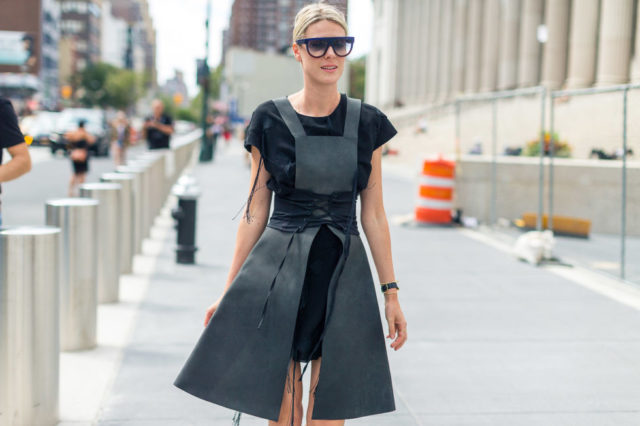 apron-dress-tie-sleeves-nyfw-street-style-fall-outfits-hbz