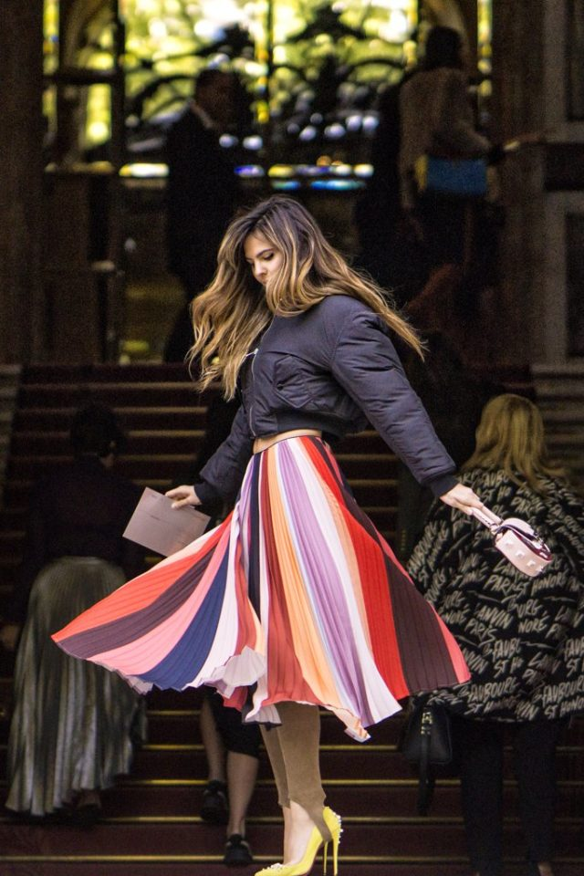 bomber-jacket-pleated-midi-skirt-rainbow-stripes-fall-work-outfit-pfw-ss-2017-street-style-ps