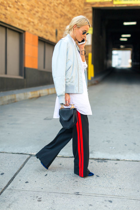 bomber-jacket-racing-stripes-top-handle-bag-oversized-oxford-shirt-fall-outfit-nyfw-street-style-hbz
