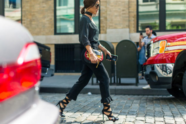 choker-fall-work-outfit-ruffle-bottom-pants-nyfw-street-style-fall-outfits-hbz