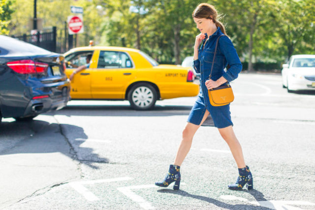 denim-dress-printed-booties-fall-work-outfit-nyfw-street-style-fall-outfits-hbz