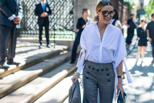fall-work-outfit-olivia-palermo-tie-sleeves-grey-pants-nyfw-street-style-hbz