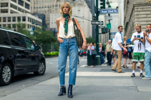 high-waisted-mom-jeans-boots-crayed-denim-cropped-jeans-and-boots-scarf-around-neck-cami-nyfw-street-style-fall-fashion-hbz