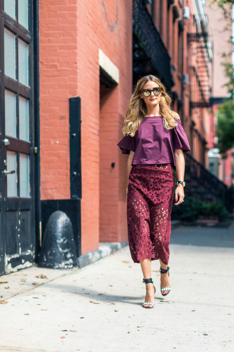 laser-cut-skirt-off-the-shoulder-shirt-burgundy-monochromatic-office-to-out-fall-work-fall-party-olivia-palermo-nyfw-street-style-fall-fashion-hbz