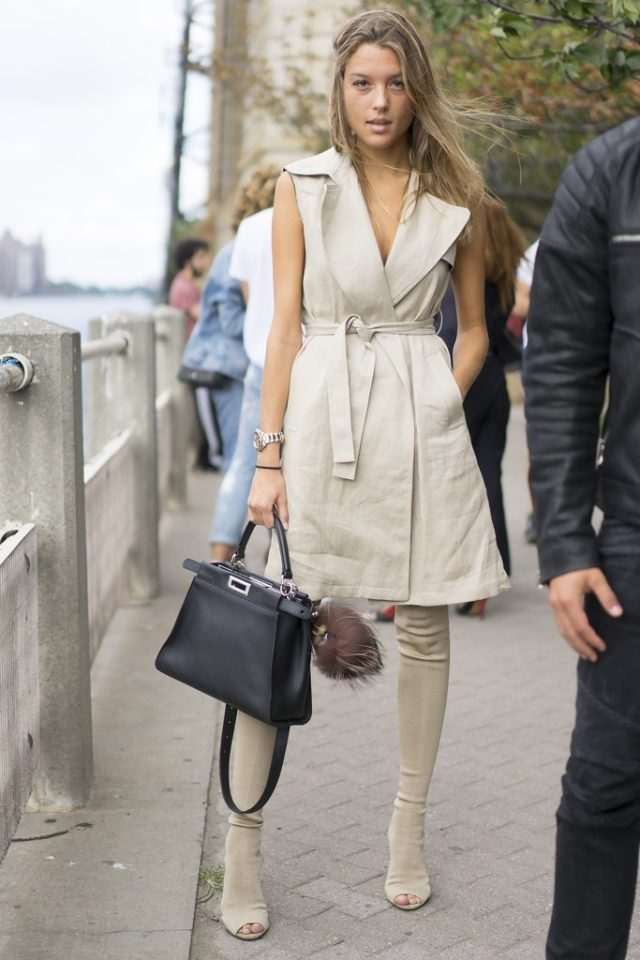 monochromatic-nyfw-street-style-sleeveless-trench-trench-coat-dress-over-the-knee-boots-