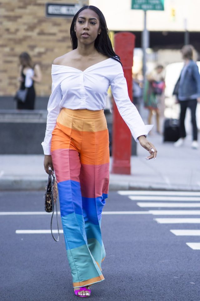 off-the-shoulder-rainbow-stripes-palazzo-pants-nyfw-street-style-ps