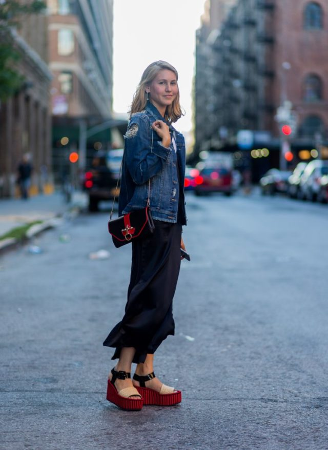 platforms-denim-jacket-black-maxi-dress-jessica-minkoff-nyfw-street-style-