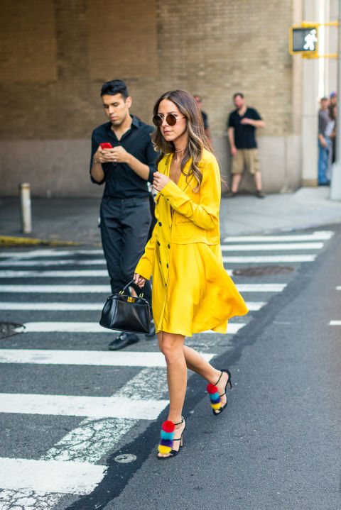 pom-pom-sandals-yellow-dress-double-breasted-dress-summer-to-fall-transitional-dressing-fall-outfit-nyfw-street-style-hbz