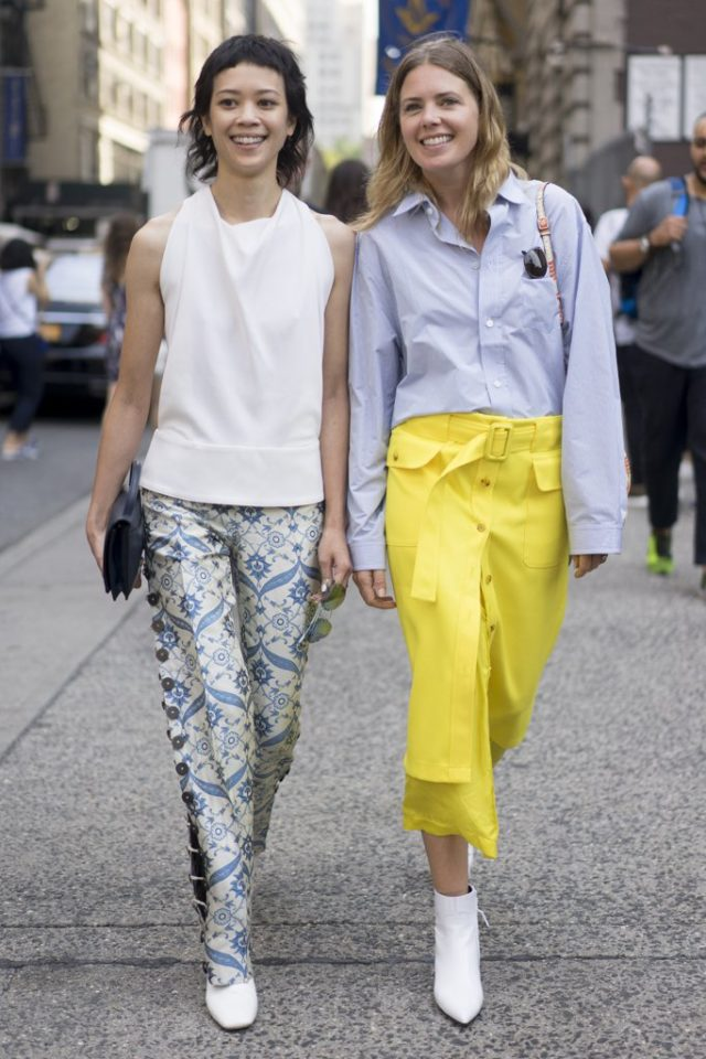 printed-pants-oxford-shirt-white-booties-button-front-skirt-nyfw-street-style-ps-summer-to-fall-transitional-dressing