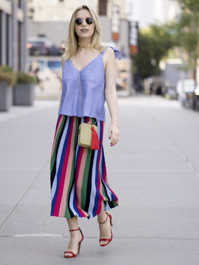 rainbow-stripes-fall-summer-work-outfit-office-to-out-summer-to-fall-transitional-dressing-tassle-purse-nyfw-street-style-ps-striped-midi-skirt-pleated-midi-skirt