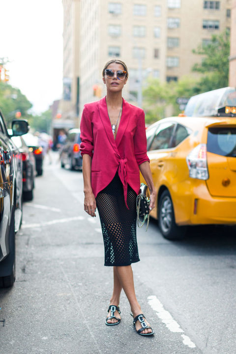 red-tie-front-blazer-sheer-skirrt-nyfw-street-style-fall-fashion-hbz