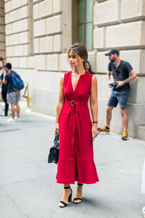 red-wrap-dress-fall-wedding-party-nyfw-street-style-fall-outfits-hbz