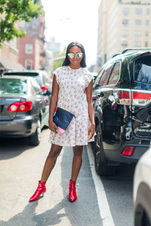 summer-to-fall-transitional-dressing-floral-dress-red-patent-leather-booties-nyfw-street-style-fall-fashion-hbz