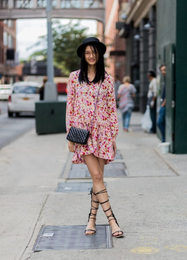 summer-to-fall-transitional-dressing-lace-up-gladiator-sandals-floral-dress-hat-nyfw-street-style-