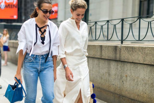 tie-front-shirt-white-after-labor-day-straw-bag-nyfw-street-style-fall-outfits-hbz