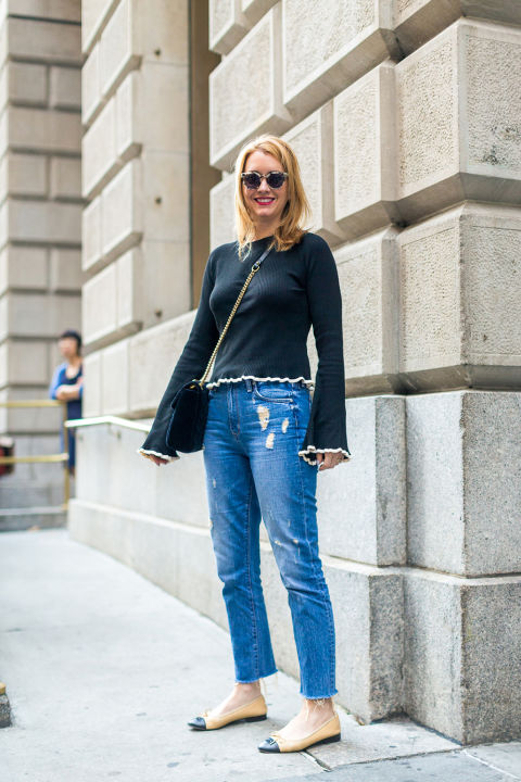 two-tone-chanel-ballet-flats-mom-jeans-straight-leg-distressed-denim-bell-sleeves-nyfw-street-style-fall-outfits-hbz