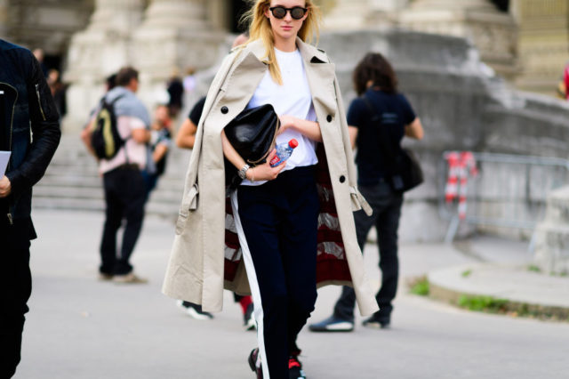 paris fashion week street style ss 2017, trench coat, track pants, white tee, fall work outfit