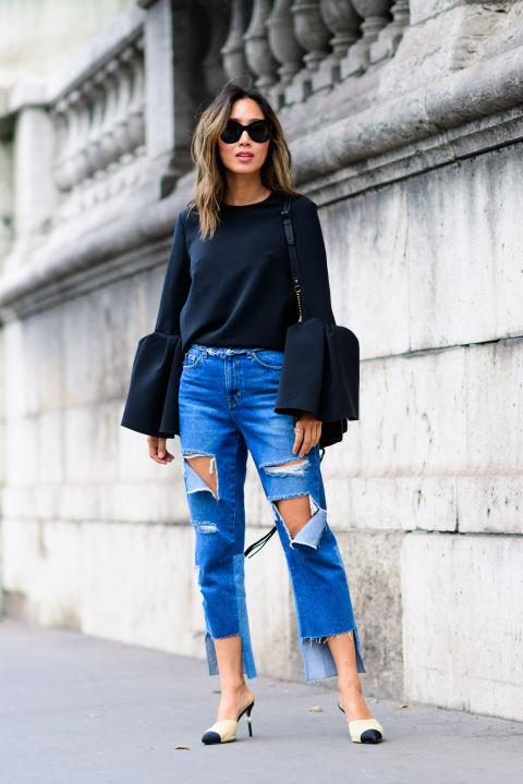 paris fashion week street style ss 2017, frayed denim, giong out, date night, fall date night, mules, two tone heels, bell sleeves, oversized sleeves, amy song