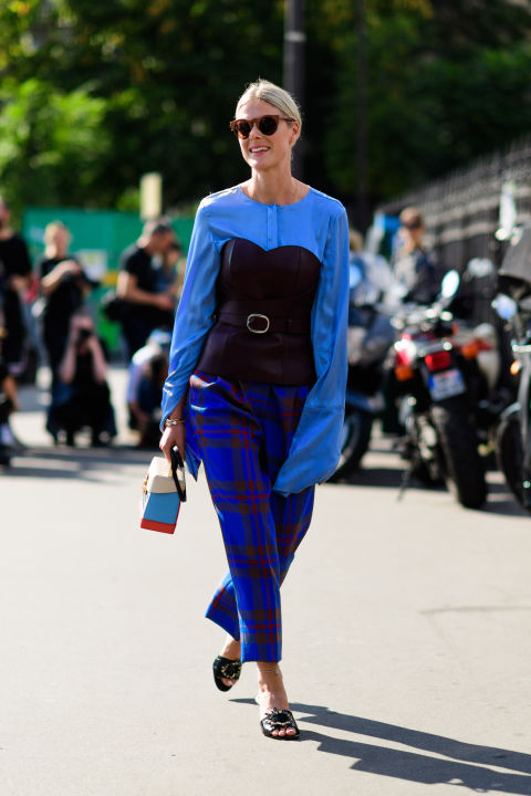 paris fashion week street style ss 2017, plaid pants, printed pants, oversized sleeves, bell sleeves, corset over shirt, day to night dressing, fall work outfit