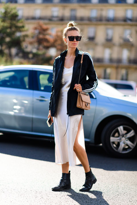 paris fashion week street style ss 2017, white slip dress, slipdress, moto boots, bomber jacket, adidas track jacket, bomber jacket, athleisure, style hack