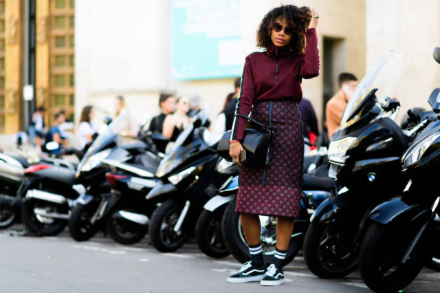 paris fashion week street style ss 2017, socks, sneakers and skirts, fall work outfit, patchwork midi skirt