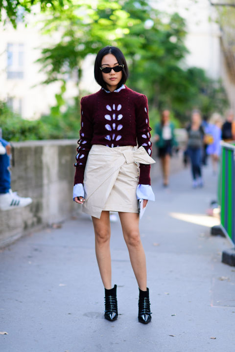 paris fashion week street style ss 2017, bow, bell sleeves, wrap skirt, fall work outfit, day to night, going out night out drinks