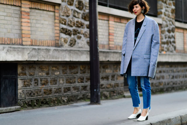 white booties, glove shoes, oversized blazer, paris fashion week street style ss 2017