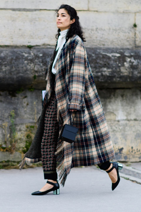 paris fashion week street style ss 2017, ankle strap block heels, printed pants ,bow blouse, victorian blouse, fall work outfit, caroline issa, plaid coat