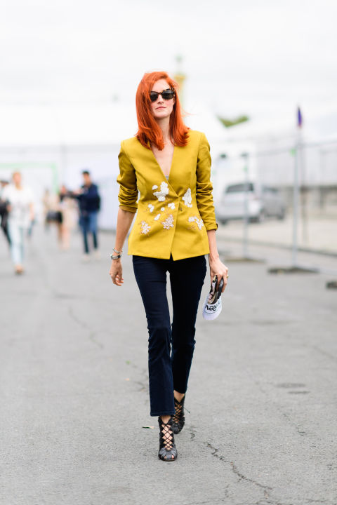 paris fashion week street style ss 2017, taylor tomassi hill, fall night out, fall work outfit, embroidered jacket, chartreuse, jacket without shirt
