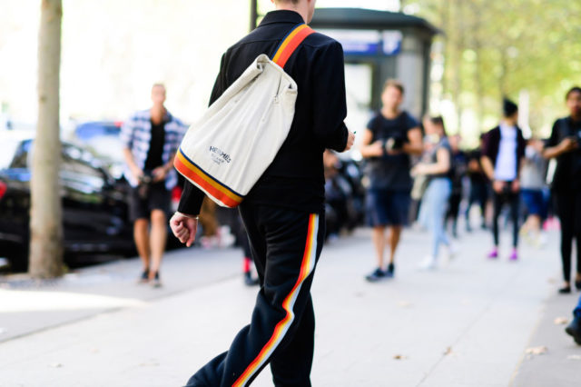 paris fashion week street style ss 2017, rainbow stripes, track pants, striped tuxedo pants