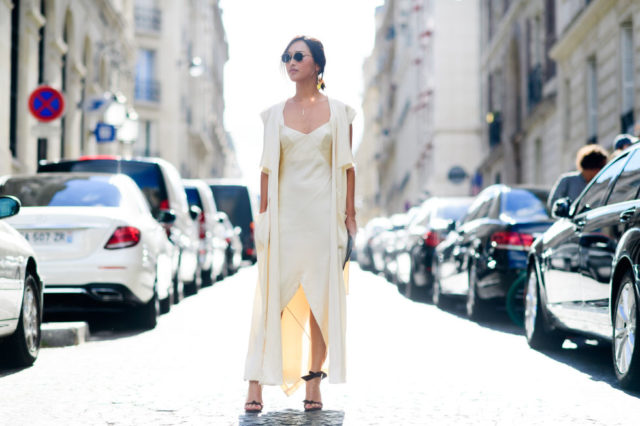 paris fashion week street style ss 2017, winter white, slip dress, robe coat