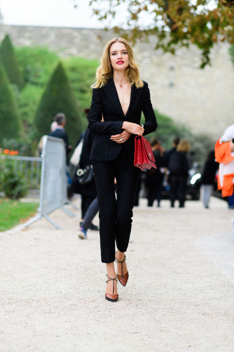 paris fashion week street style ss 2017, pantsuit, natalie vondavo, model off duty style, going out night out party wedding