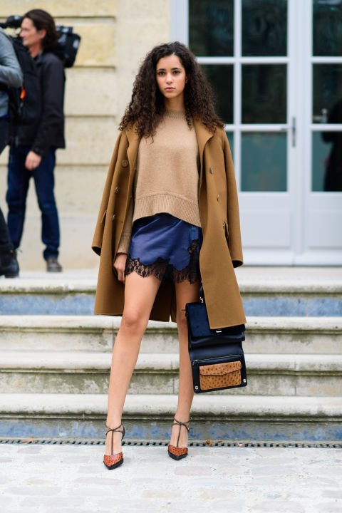 paris fashion week street style ss 2017, lingerie during the day, navy and camel, coat on shoulders jacket on shoulders, day to night dressing