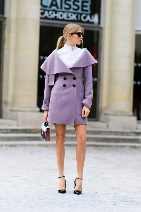 paris fashion week street style ss 2017, pastel coat, purple coat, ankle strap heels, mockneck, off the shoulder jacket, fall winter coats