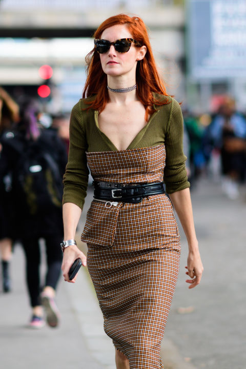 paris fashion week street style ss 2017, taylor tomassi hill, fall work outfit, bustier over shirt, strapless dress, day to night dressing, cocktail dress for day, belted, choker