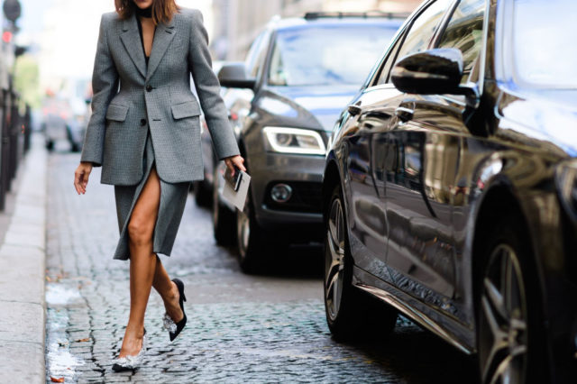 paris fashion week street style ss 2017,skirt suit, grey suit, slit, oversized jacket