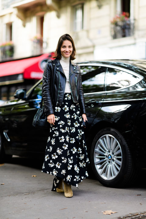paris fashion week street style ss 2017, maria duenas jacobs, black moto jacket, fall florals, floral maxi skirt, fall work outfit, turtleneck, asymmetrical skirt
