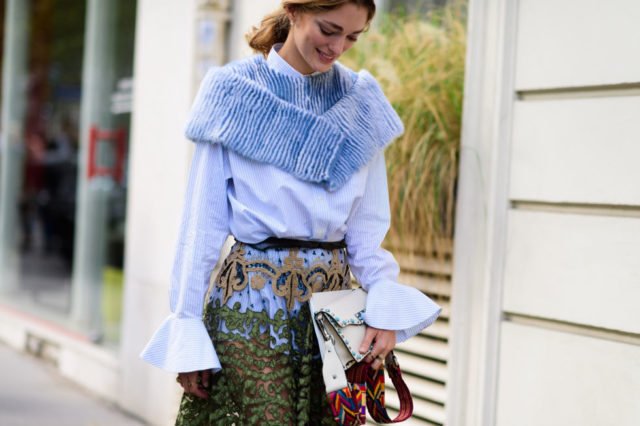 bell sleeves, fall work outfit, chufy, furry stole, pastel fur, embroidered skirt, ruffles, paris fashion week street style ss 2017, fall work outfit