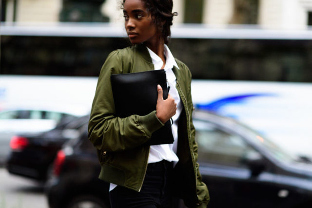 paris fashion week street style ss 2017, army green bomber jacket