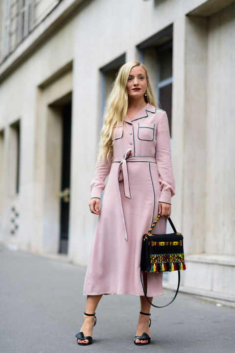 paris fashion week street style ss 2017, blush pink, pink and black, piping, robe dress, pajama dressing, fall work outfit, office to out, kate foley, paris fashion week street style ss 2017,