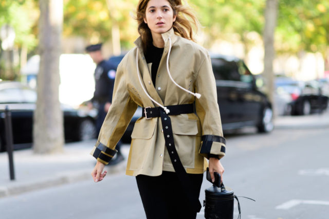 paris fashion week street style ss 2017, rain coat, belted jacket, fall work outfit