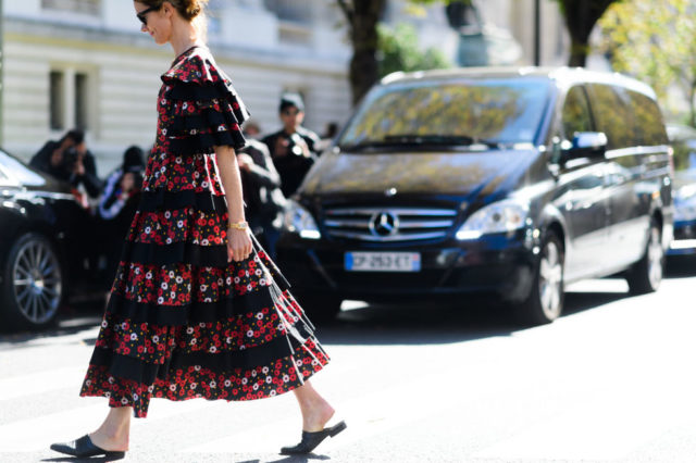 fall florals, ruffles, mules, paris fashion week street style ss 2017,