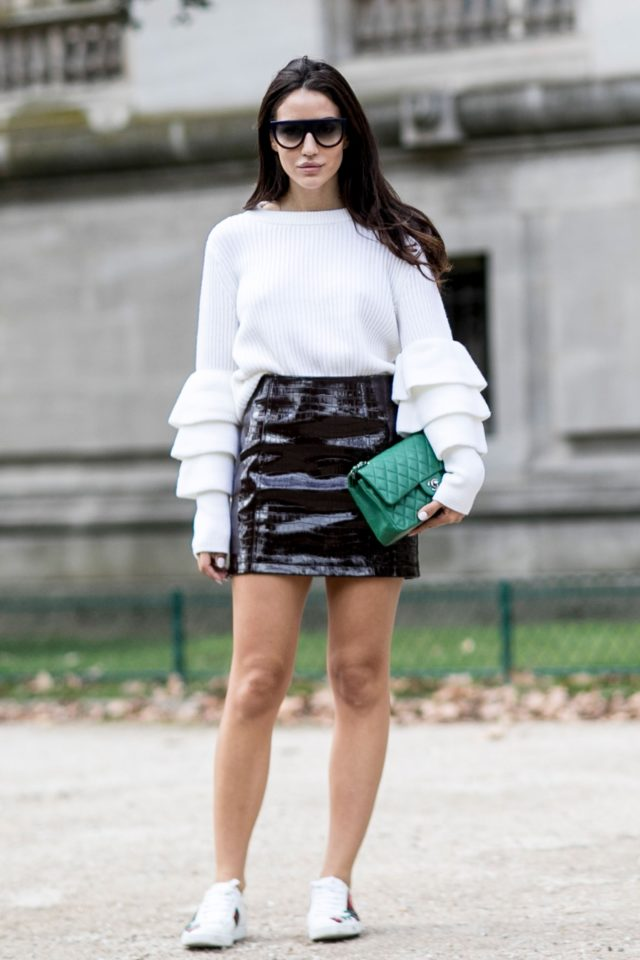 ruffle-sweater-black-and-white-black-leather-mini-skirt-sneakers-and-skirts-giong-out-night-out-fall-going-out-date-night-pfw-ss-2017-street-style-ps
