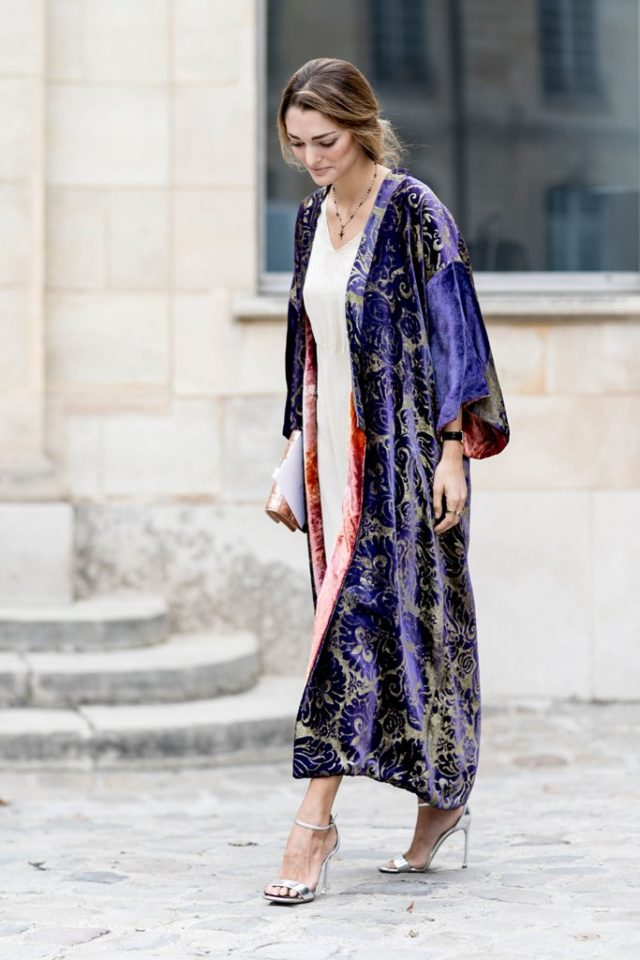 slip-dress-fall-wedding-fall-party-going-out-night-out-velvet-jacet-statement-jacket-coat-robe-coat-pfw-ss-2017-street-style-ps