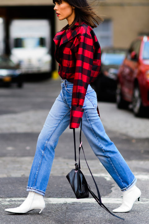 white-booties-lumberjack-plaid-plaid-shirt-fall-nyfw-ss17-street-style